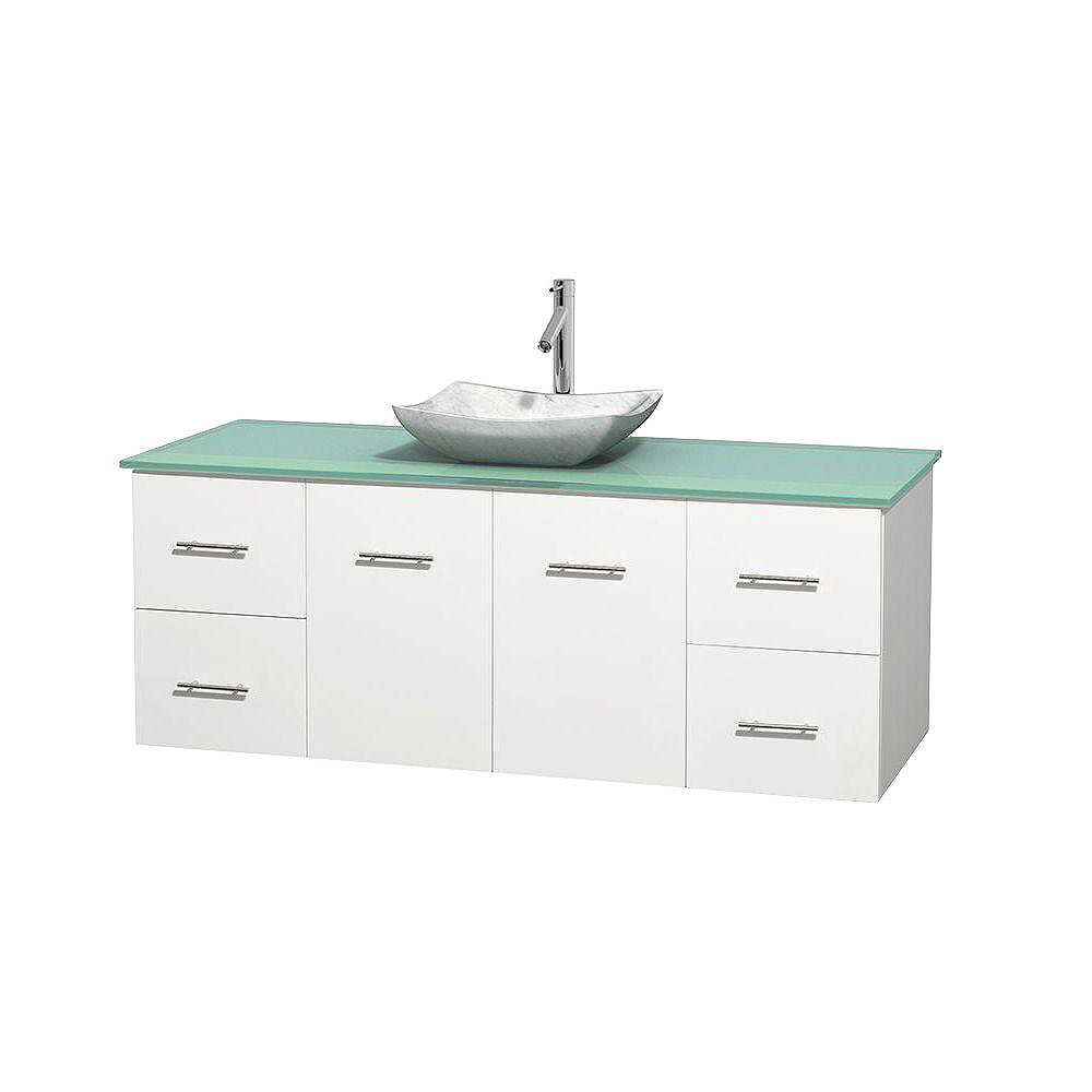 Wyndham Collection Centra 60-inch W 4-Drawer 2-Door Wall Mounted Vanity in White With Top in Green