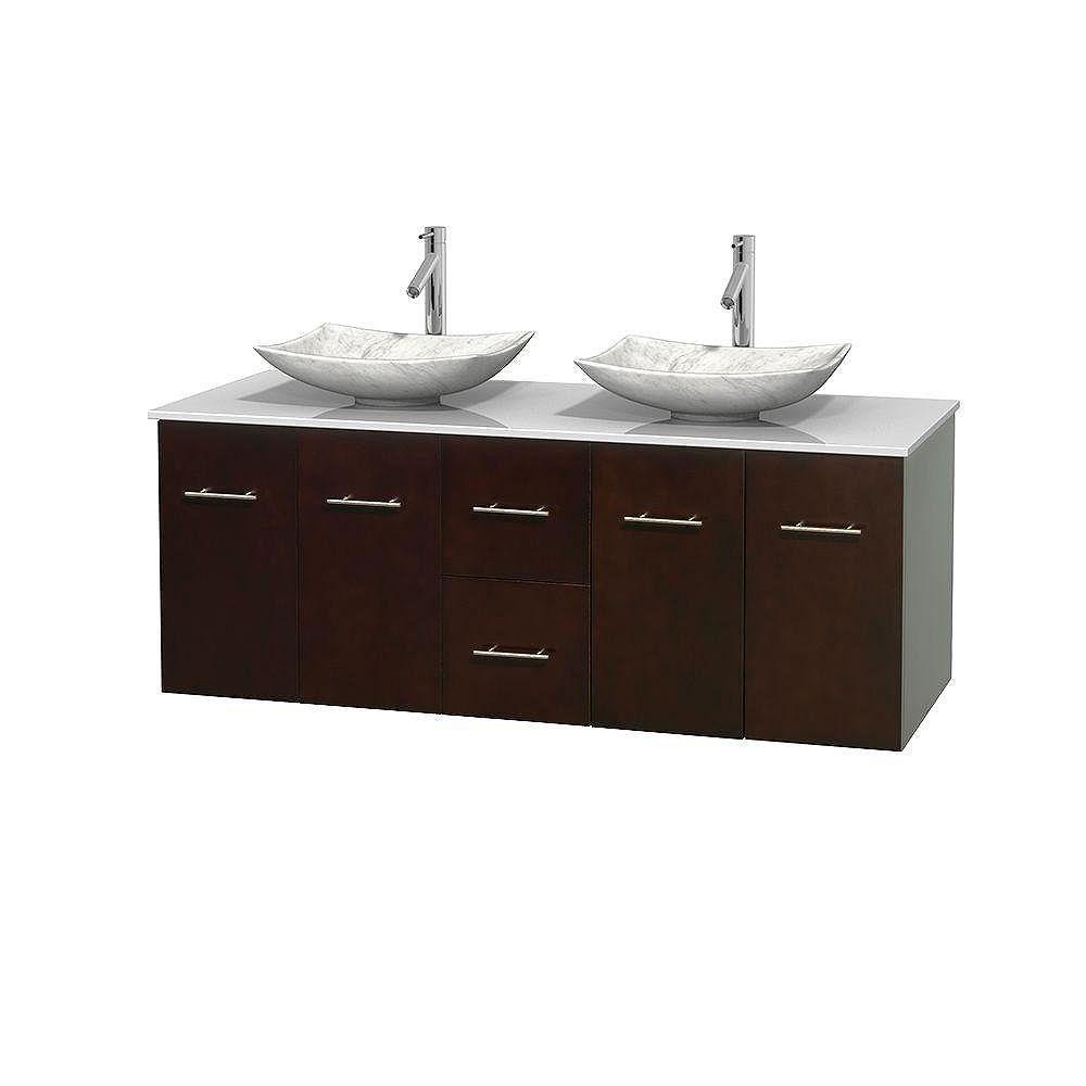 Wyndham Collection Meuble double Centra 60 po. espresso, comptoir solide, lavabos blanc Carrare, sans miroir