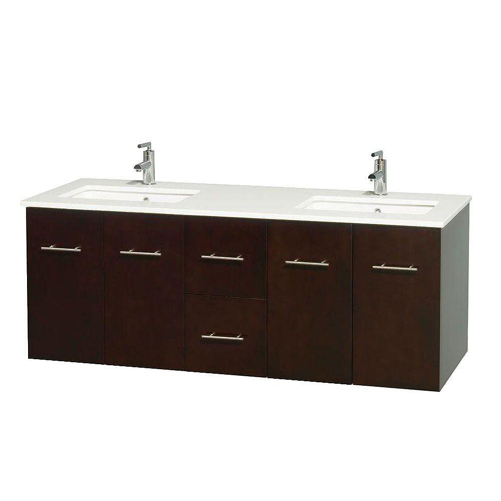Wyndham Collection Centra 60-inch W 2-Drawer 4-Door Vanity in Brown With Artificial Stone Top in White, Double Basins