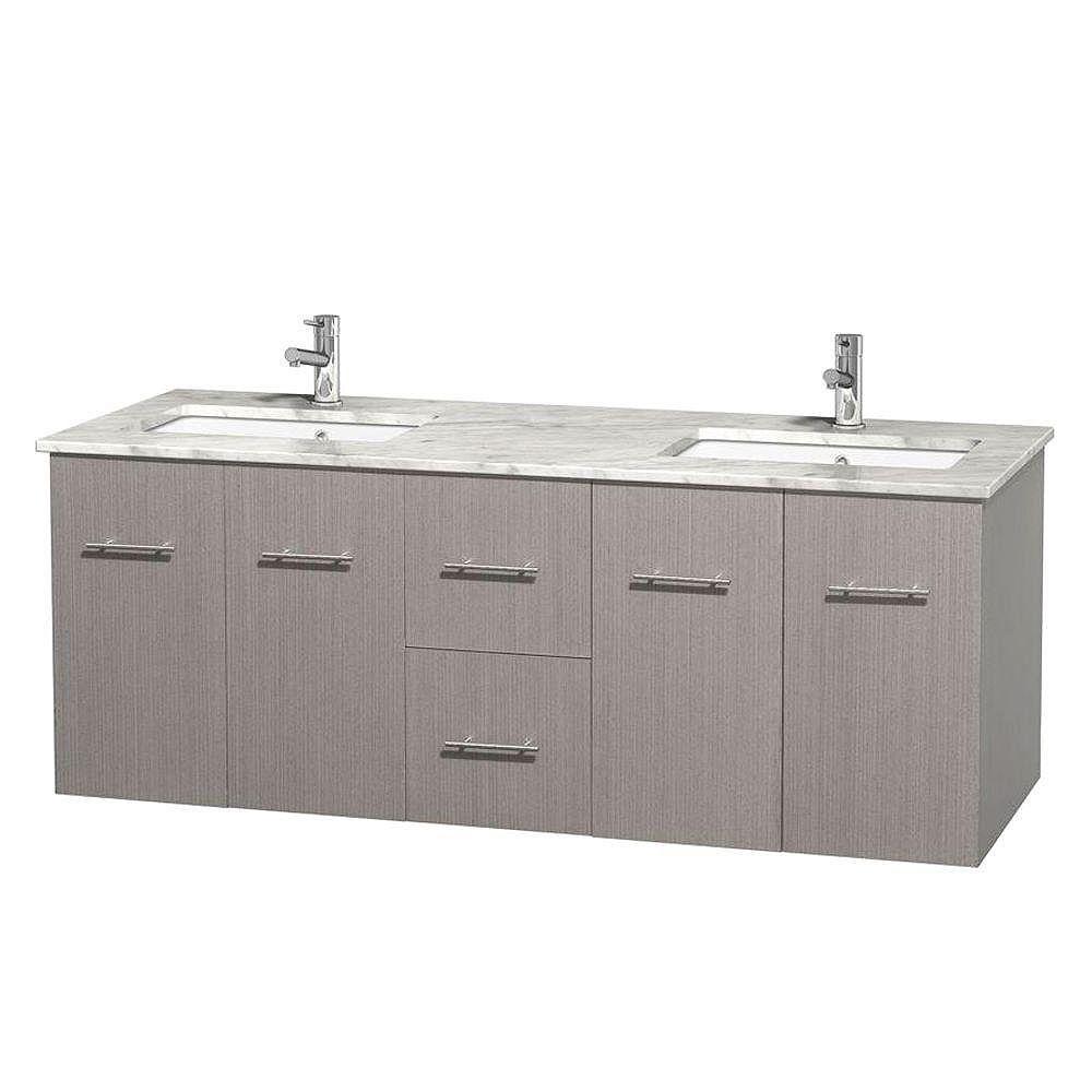 Wyndham Collection Meuble double Centra 60 po. chêne gris, comptoir blanc Carrare, lavabos carrés sans miroir