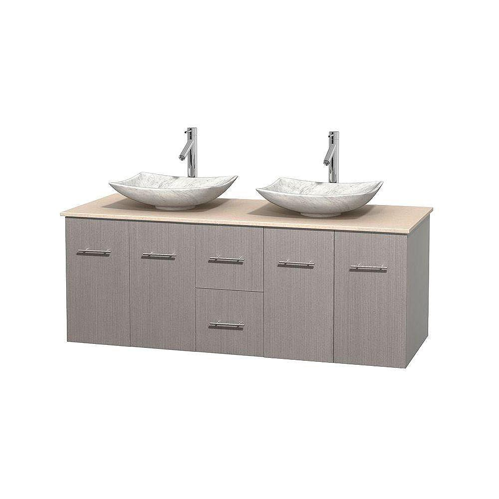 Wyndham Collection Centra 60-inch W 2-Drawer 4-Door Wall Mounted Vanity in Grey With Marble Top in Beige Tan, 2 Basins