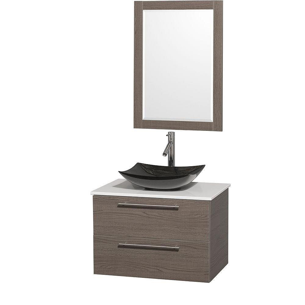 Wyndham Collection Amare 30-inch W 2-Drawer Wall Mounted Vanity in Grey With Artificial Stone Top in White With Mirror