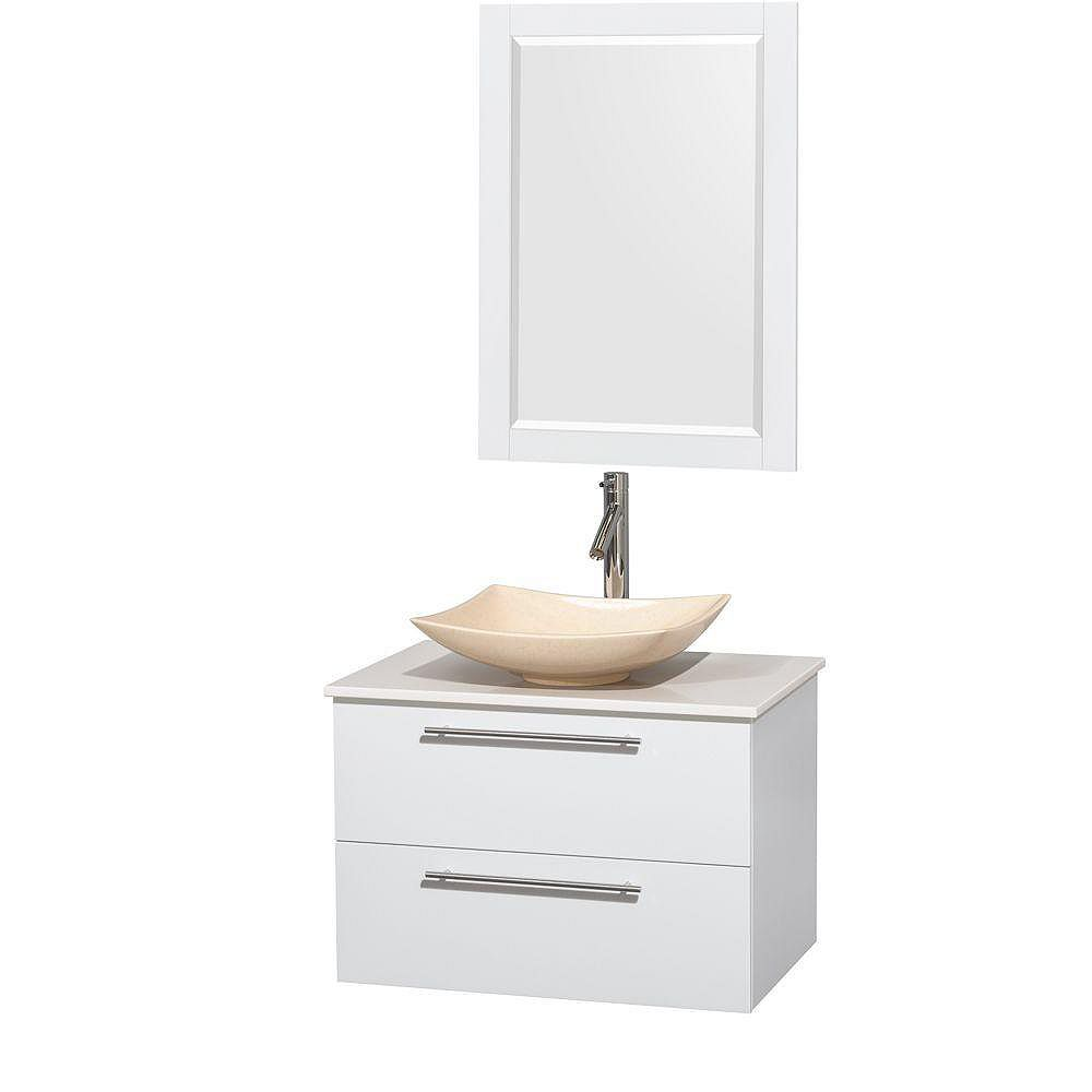 Wyndham Collection Amare 30-inch W 2-Drawer Wall Mounted Vanity in White With Artificial Stone Top in White