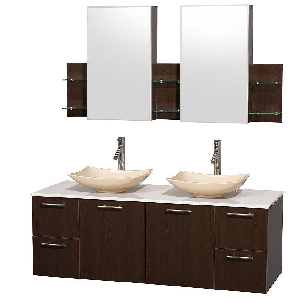 Wyndham Collection Amare 60-inch W 4-Drawer 2-Door Vanity in Brown With Artificial Stone Top in White, Double Basins