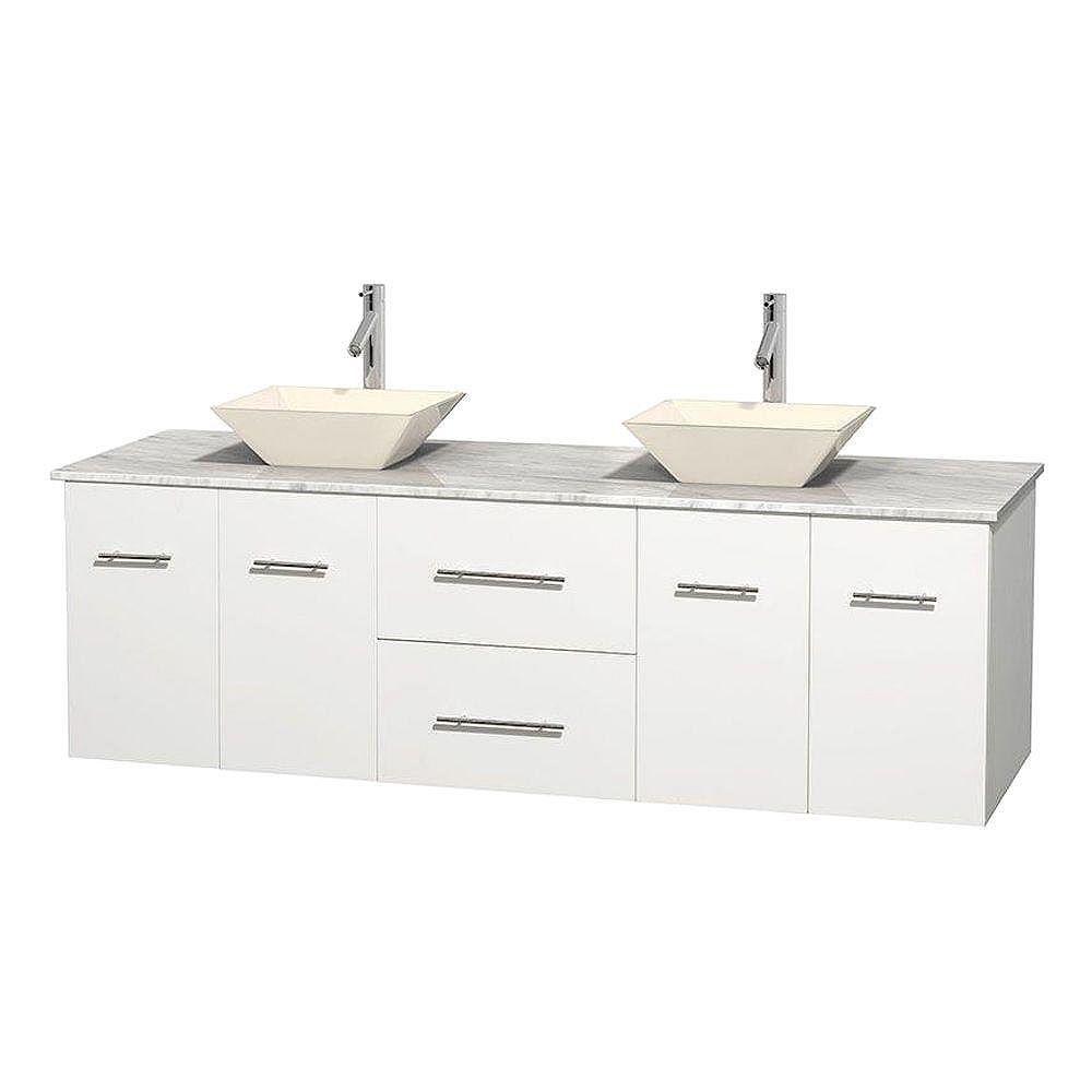 Wyndham Collection Meuble double Centra 72 po. blanc, comptoir blanc Carrare, lavabos porcelaine bone sans miroir