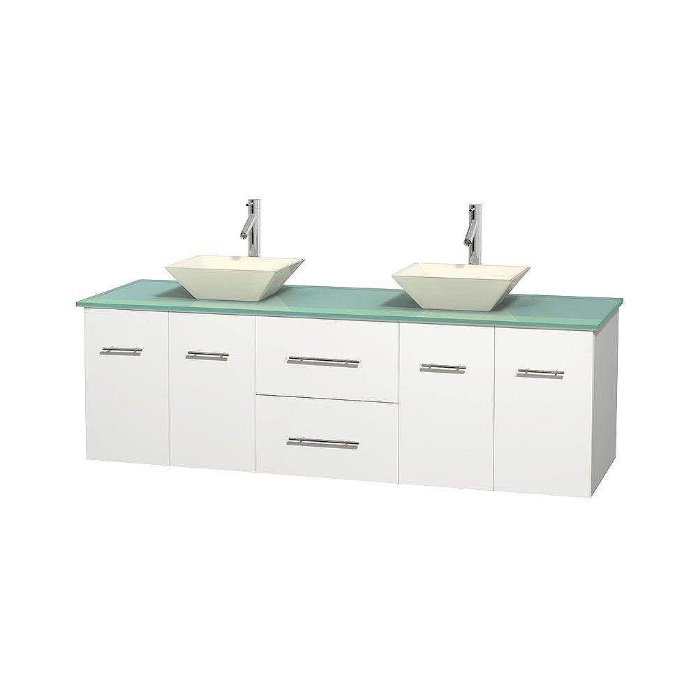 Wyndham Collection Meuble double Centra 72 po. blanc, comptoir verre vert, lavabos porcelaine bone sans miroir