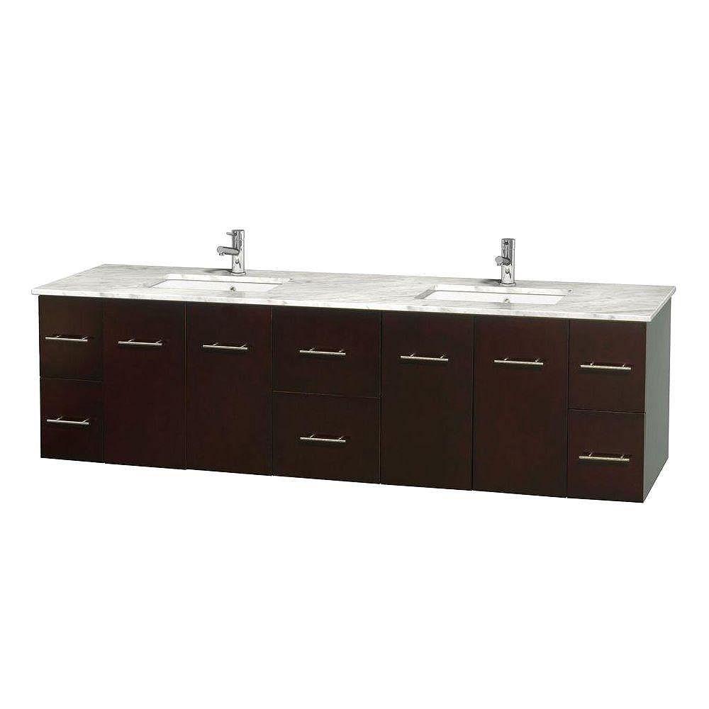 Wyndham Collection Meuble double Centra 80 po. espresso, comptoir blanc Carrare, lavabos carrés sans miroir
