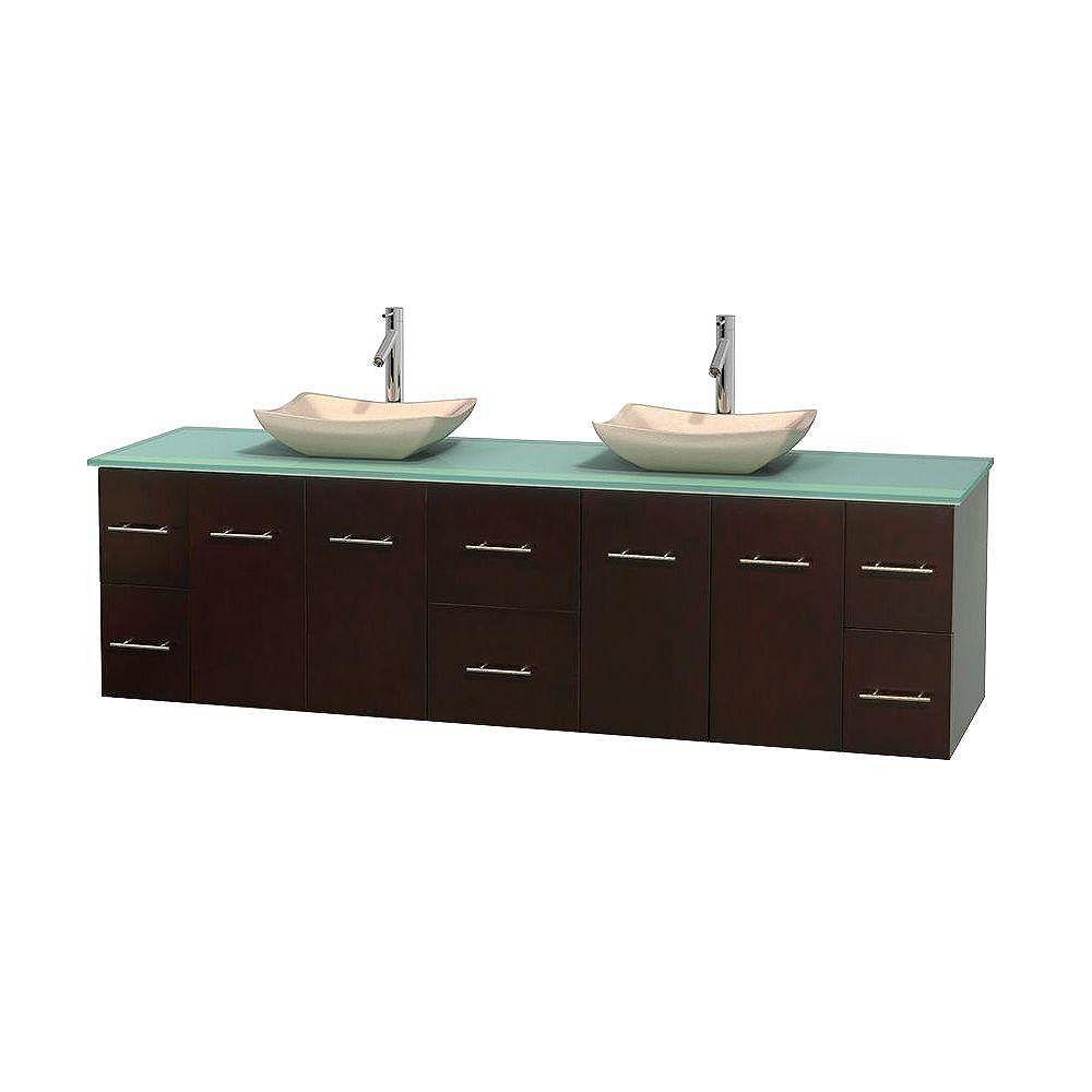 Wyndham Collection Meuble double Centra 80 po. espresso, comptoir verre vert, lavabos ivoire, sans miroir