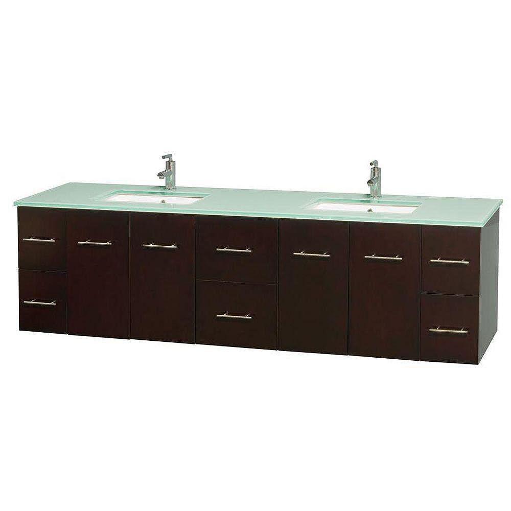 Wyndham Collection Meuble double Centra 80 po. espresso, comptoir verre vert, lavabos carrés sans miroir