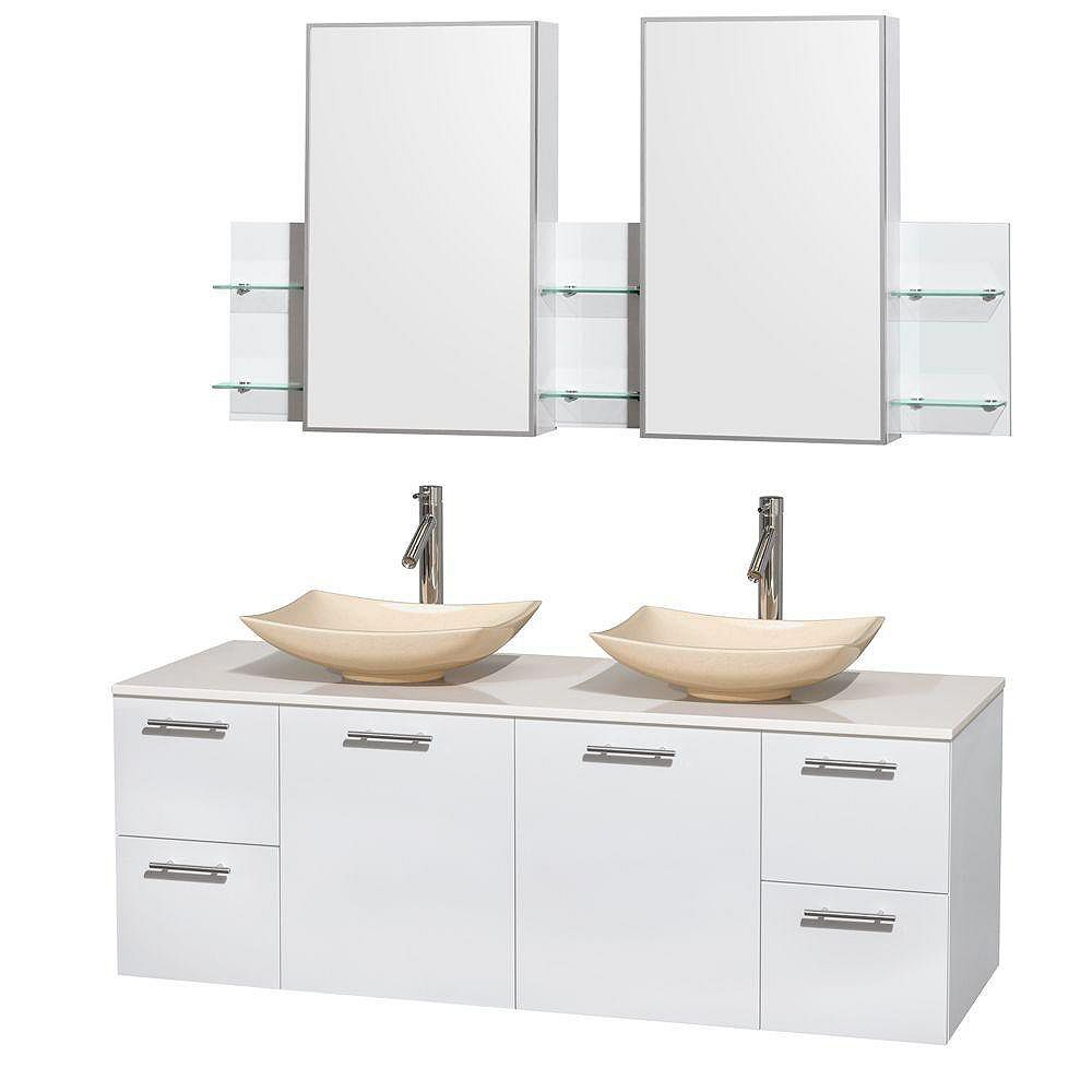 Wyndham Collection Amare 60-inch W 4-Drawer 2-Door Vanity in White With Artificial Stone Top in White, Double Basins