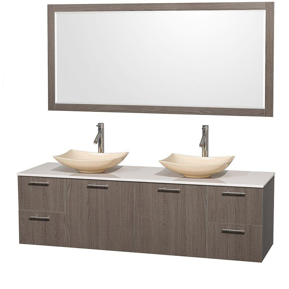 Wyndham Collection Amare 72-inch W 4-Drawer 2-Door Vanity in Grey With Artificial Stone Top in White, Double Basins