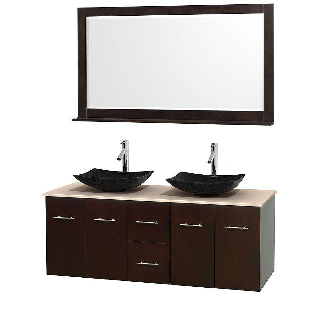 Wyndham Collection Centra 60-inch W 2-Drawer 4-Door Wall Mounted Vanity in Brown With Marble Top in Beige Tan, 2 Basins