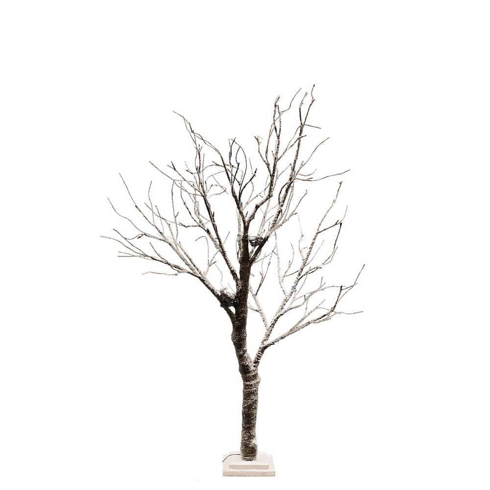 Hi-Line Gift Lighted Snowy Tree with Bird Nest, 64 LEDS Lights, Indoor Only, with wooden base, AC Adaptor, Item Size: 23.5 -inch  x 16 -inch  x 51 -inch H