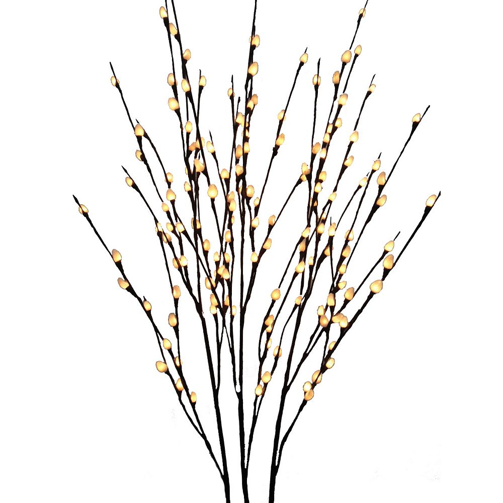 Hi-Line Gift Floral Lights 144-Light Set of 3 48-inch LED Lit Pussy Willow Branches