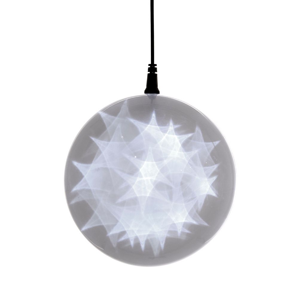 Hi-Line Gift 6 -inch  Hologram Starburst Hanging Ball Sphere - 24 Cool White LED Lights - Battery Operated (3 Functions)