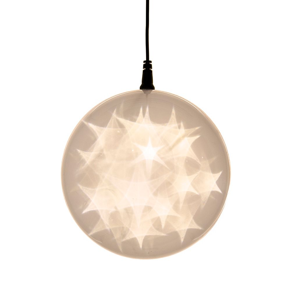 Hi-Line Gift 6 -inch  Hologram Starburst Hanging Ball Sphere - 24 Warm White LED Lights - Battery Operated (3 Functions)