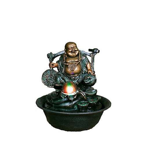 10-inch H Lucky Buddha Fountain with Spinning Ball