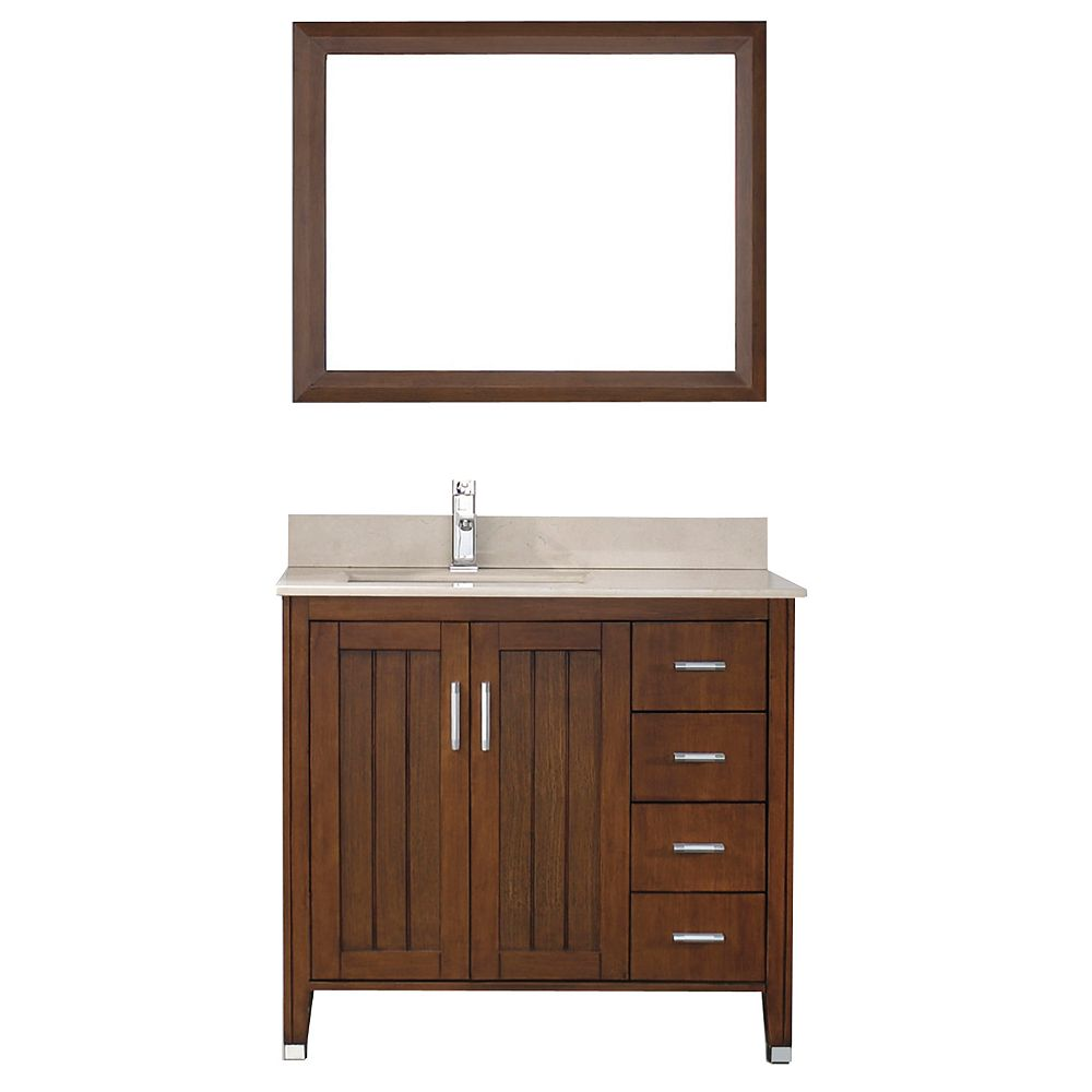 Art Bathe Jackie 36-inch W 4-Drawer 2-Door Vanity in Brown With Marble Top in Beige Tan With Faucet And Mirror