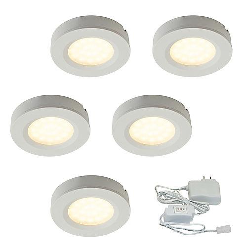 2.75-inch White Plastic LED Puck Kit (5-Pack)