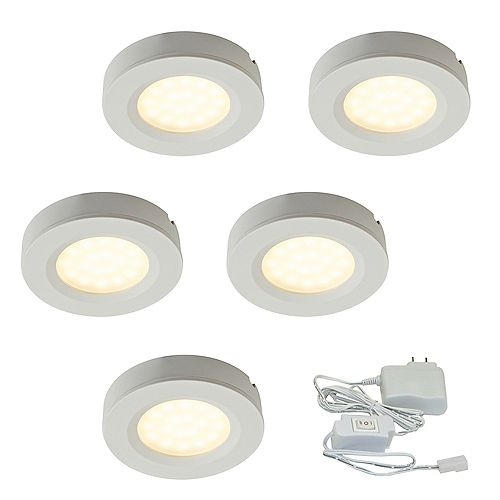2.75-inch White Plastic LED Puck Kit (5-Pack)