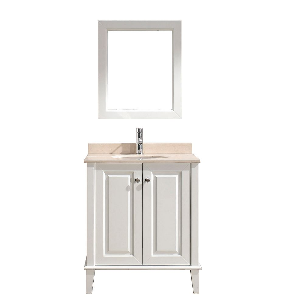 Art Bathe Lily 30-inch W 1-Drawer 2-Door Vanity in White With Marble Top in Beige Tan With Faucet And Mirror