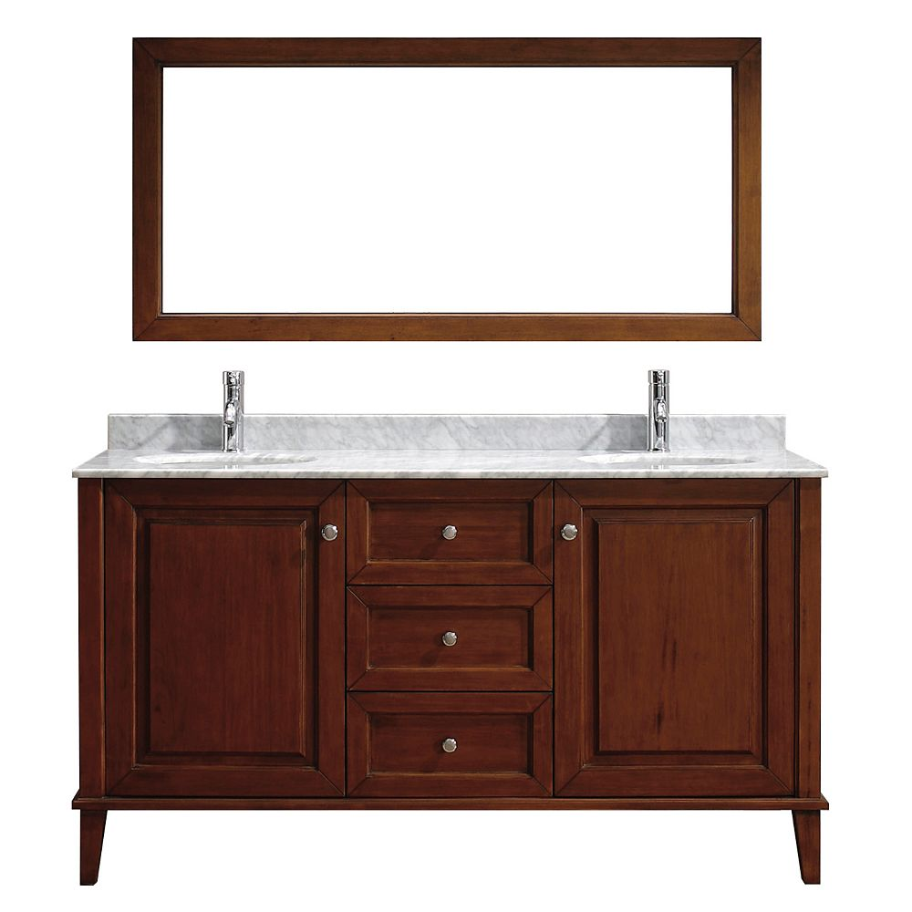 Art Bathe Lily 63-inch W 3-Drawer 2-Door Vanity in Brown With Marble Top in Grey, Double Basins