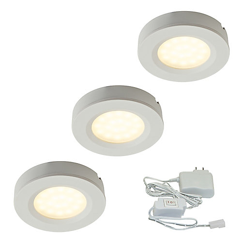 2.75-inch White Plastic LED Puck Kit (3-Pack)