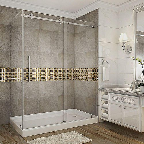 Moselle 48-Inch  x 35-Inch  x 77 1/2-Inch  Frameless Shower Stall with Sliding Door in Chrome