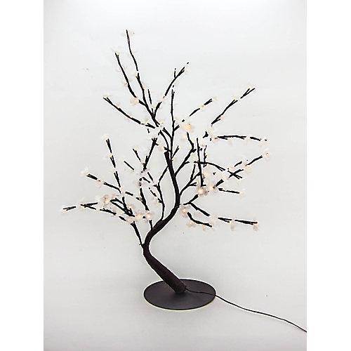 Lumières florales- Bonsaï orné de fleurs de cerisier  lumineuses blanches, 128 DELS , pour l'intérieur seulement, 32'' hauteur , adaptateur CA