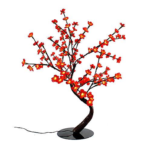 Lumières florales- Bonsaï orné de fleurs de cerisier  lumineuses rouges , 128 DELS , pour l'intérieur seulement, 32'' hauteur , adaptateur CA.