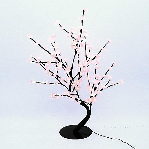 Lumières florales- Bonsaï orné de fleurs de cerisier  lumineuses roses, 128 DELS , pour l'intérieur seulement, 32'' hauteur , adaptateur CA.