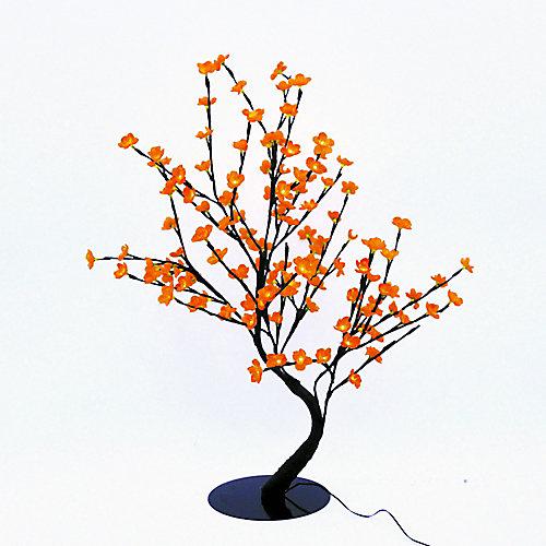 Lumières florales- Bonsaï orné de fleurs de cerisier  lumineuses oranges, 128 DELS , pour l'intérieur seulement, 32'' hauteur , adaptateur CA.