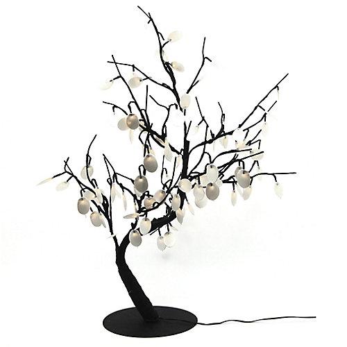 Lumières florales- Bonsaï orné de fleurs   lumineuses de couleur argent  ,96 DELS , pour l'intérieur seulement, 32'' hauteur , adaptateur CA.