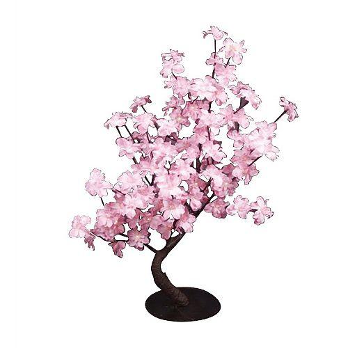 Lumières florales-  Bonsaï Pied-d'alouette rose, 96 lumières  DELS, pour intérieur seulement. 32'' de hauteur , adaptateur CA.