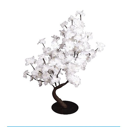 Floral Lights - White Delphinium Bonsai Tree, 96 LED lights, Indoor only, 32 Inch  high, AC Adaptor