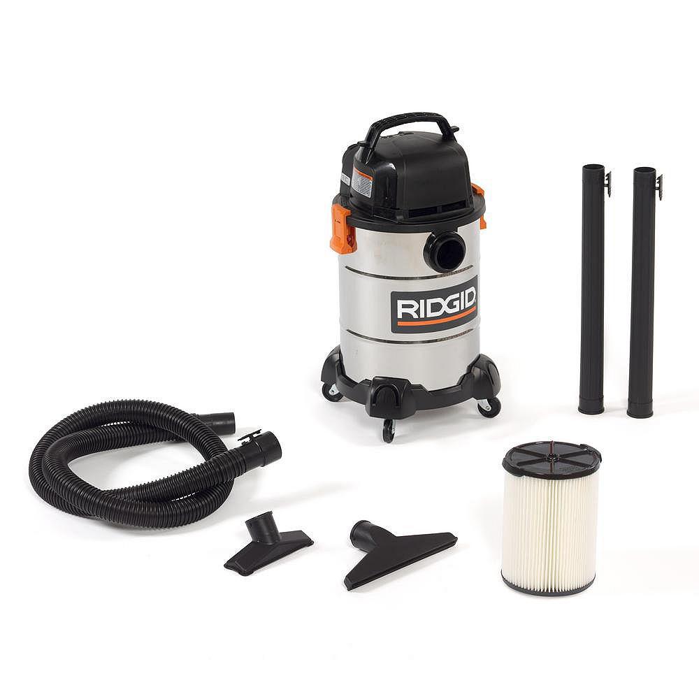 RIDGID Aspirateur sec/humide 22.5 litres (6 gal) en acier inoxydable, 4,25 HP crête