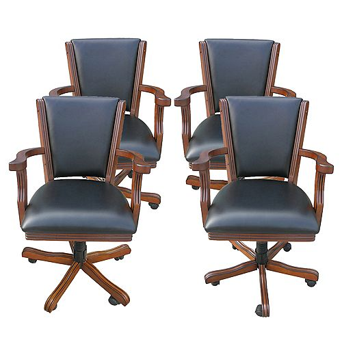 Kingston Walnut Poker Table Arm Chair (4-Pack)