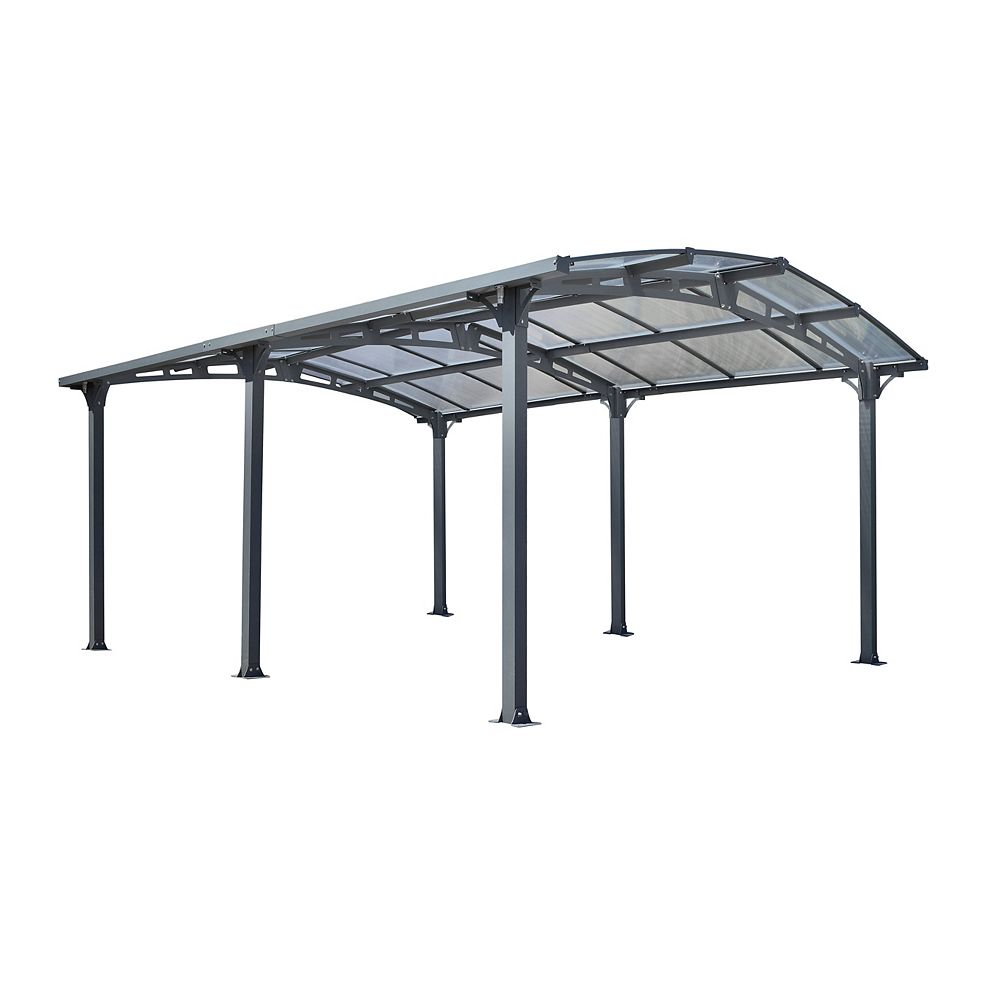 Gazebo Penguin Acay Carport with Gutter in Grey