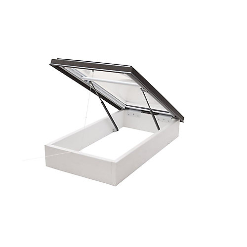 4ft x 4ft Roof Access Hatch Double Glazed Clear Acrylic Dome Skylight with Brown Frame