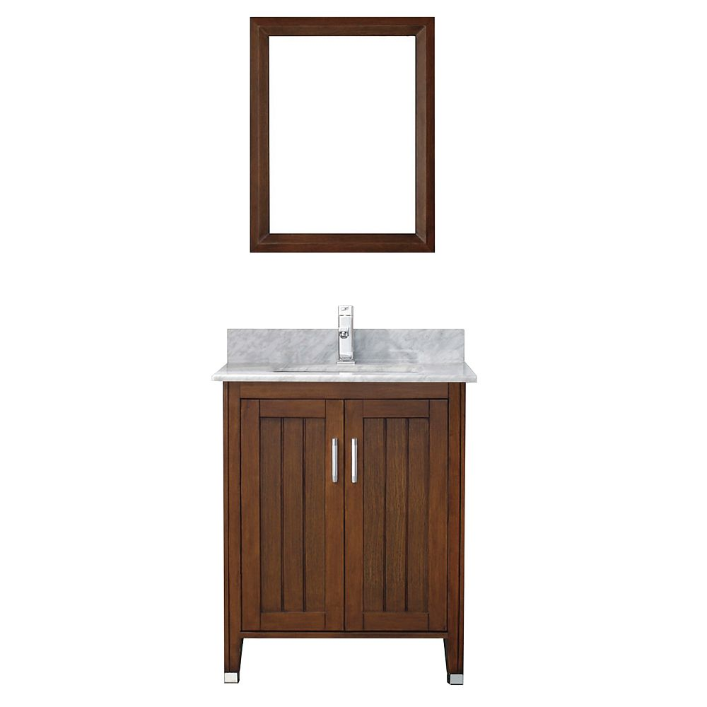 Art Bathe Jackie 28-inch W 1-Drawer 2-Door Vanity in Brown With Marble Top in Grey With Faucet And Mirror