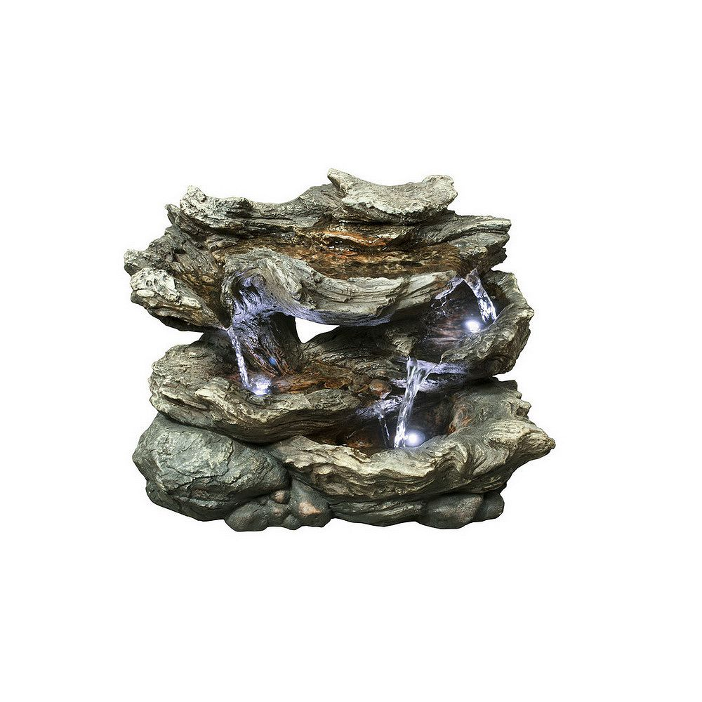 Hi-Line Gift 16 1/2-inch H 3-Level Log Waterfall Fountain with LED Lights