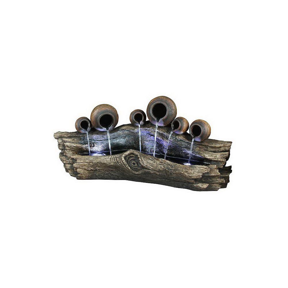 Hi-Line Gift Fontaine-  6 sceaux se déversant sur un tronc. Lumière DEL.  24'' de haut.