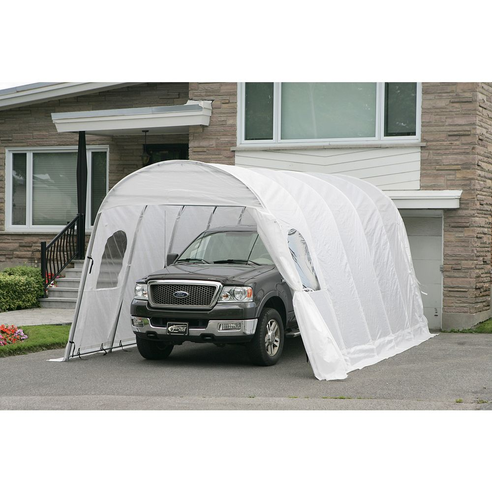 Gazebo Penguin Jaguar 12 ft. x20 ft. Car Shelter with White Roof & Straps