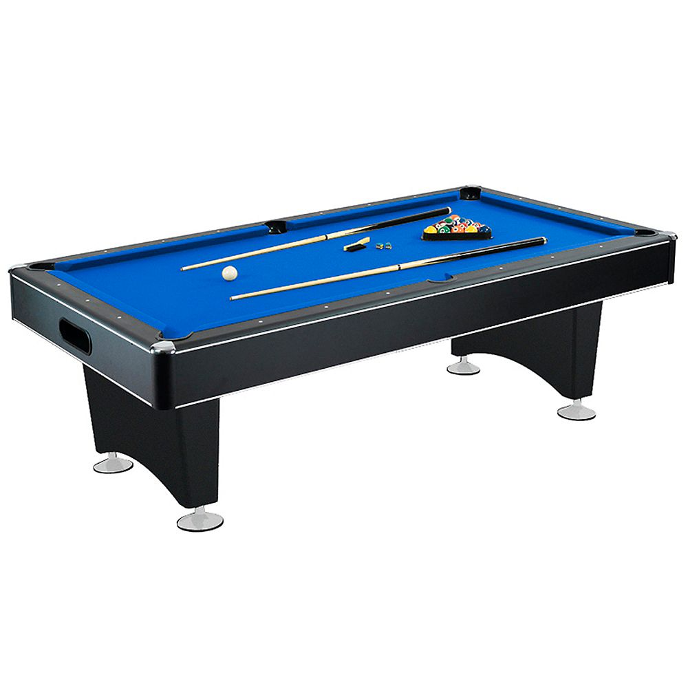Hathaway Hustler 7-Foot Pool Table with Blue Felt, Internal Ball Return System, Easy Assembly, Pool Cues and Chalk