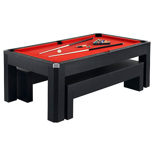 Park Avenue 7-Foot Pool Table Tennis Combination with Dining Top, Two Storage Benches, Free Accessories