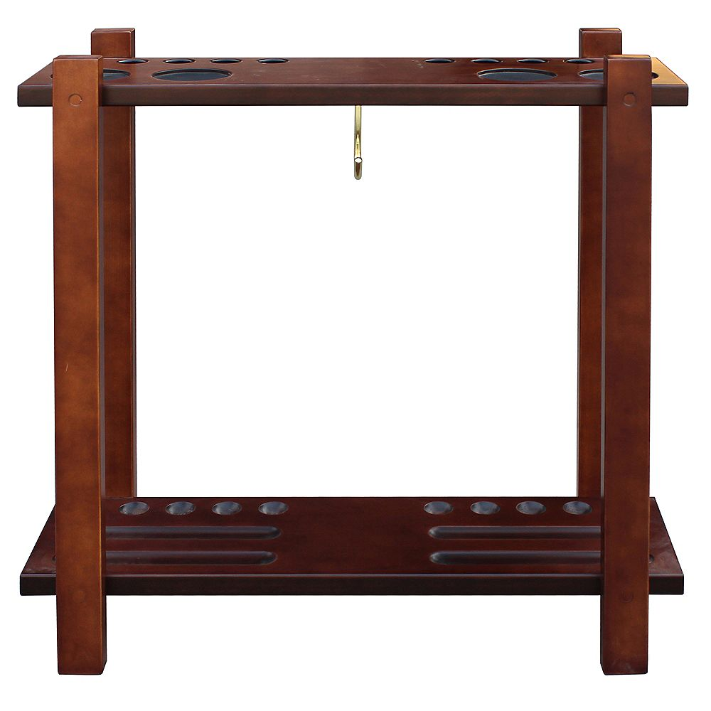 Hathaway Classic Floor Billiard Pool Cue Rack in Antique Walnut Finish