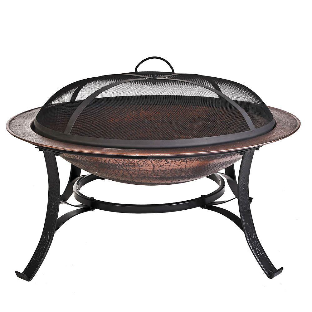 Cobra Co Round Cast Iron Outdoor Fire Bowl in Copper Finish