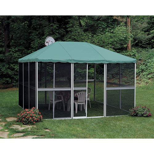 Square Gazebo 3 Seasons 11 Feet 4 Inch x11 Feet 4 Inch  White/White