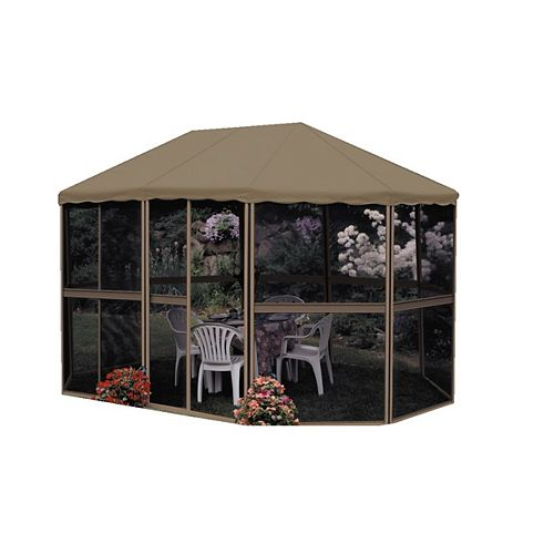 13 ft. x 9 ft. Oblong 3-Season Gazebo in Sand/Taupe
