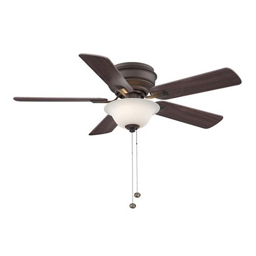 Hawkins 44-inch 5-Blade Oil-Rubbed Bronze Indoor Ceiling Fan with Light Kit and Reversible Blades